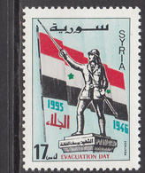 1995 Syria Evacuation Of British & French Troops Statue Of Soldier, Flag Set Of 1 MNH - Syrie
