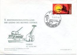 """(DDR-B1) DDR Sonderumschlag """"V. BM-Ausstellung Der Jugend Bezirk Cottbus"""" EF Mi 2259, SSt.15.10.1977 FORST 2 - Cartas"""