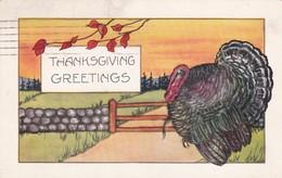 THANKSGIVING GREETINGS. CIRCULEE 1924 NEW BEDFORD MASS. BANDELETA PARLANTE. USA- BLEUP - Thanksgiving
