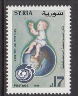1996 Syria 50th Anniv Of UNICEF Baby Sitting On A Globe Set Of 1 MNH - Syria