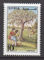 1996 Syria World Child's Day Children Gathering Apples And Swing In Tree Set Of 1 MNH - Siria