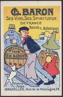 """Préo Typos """"Bruxelles 1907"""" Sur Carte Postale PUB """"G.Baron : Ses Vins, Ses Spiritueux De France"""" / Alcool - Préoblitérés"""