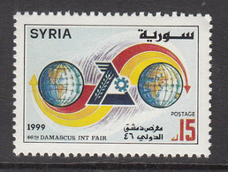 1999 Syria Damascus Intl Day Emblem Between Two Globes With Arrows Set Of 1 MNH - Syrie