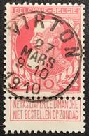 """N. 74-V1, 10 Cent Carmin, Obl. Virton 27/3/1910, NIPA 70. Variété Trait Au Centre Du 1er """"L"""" De """"BESTELLEN"""" - 1905 Grosse Barbe"""