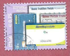 ITALIA REPUBBLICA USATO - 2011 - Risparmio Postale - Libretti E Buoni Postali - € 0,75 - S. 3287 - 6. 1946-.. Republic