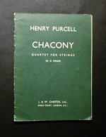 Musica Spartiti - Henry Purcell - Chacony - Quartet For Strings - In G Minor - Vecchi Documenti