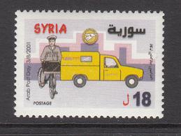 2001 Syria Arab Postal Day Yellow Van And Postman On Bicycle Set Of 1 MNH - Syrie