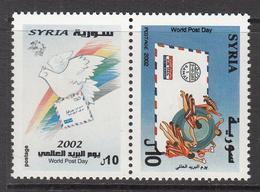 2002 Syria World Post Day Dove, Envelope, Rainbow, UPU Emblem Pair MNH - Syrie