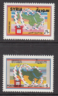 2002 Syria Arab Post Day Airmail Letters As Ribbons Encircling Map Of Arab Countries Set Of 2 MNH - Syrie