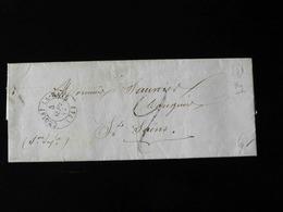 LETTRE DE RY POUR ST SAENS  -  1849  - - Marcophilie (Lettres)