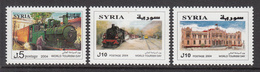 2004 Syria World Tourism Day Locomotive, Train, Buildings Set Of 3 MNH - Syrie