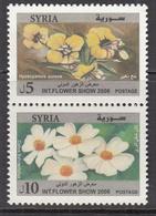 2006 Syria Damascus International Flower Show Yellow & White Flowers Pair MNH - Syria