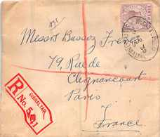 GIBRALTAR  -  Old Registered Letter  With Stamp   ( Lettre Recommandée , Timbre Et Cahets Recto Verso) - Gibraltar