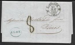1842 LAC - BORDEAUX 25 MAI 42 A PARIS - ROTHSCHILD FRÈRES - Postmark Collection (Covers)