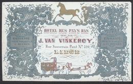 Carte En Porcelaine - Hotel Des Pays Bas Tenu Par J.Van Vinkeroy (Liège) / Diligence Pour Tongres à 5h. TB - Vieux Papiers