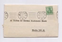 DR Faltbrief Krankenhaus Moabit 2x 5Pfg Germania (1x Perfin) BERLIN 1915 - Briefe U. Dokumente