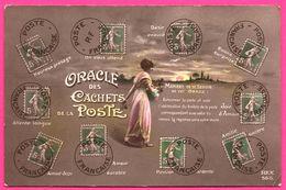 Oracle Des Cachets De La Poste - Semeuse - Femme - Langage Des Timbres - REX - 1915 - Convoyeur SOISSONS à PARIS - Timbres (représentations)