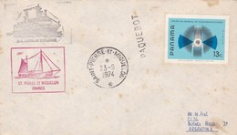 RARE ENVELOPPE CIRCULEE 1974 PAQUEBOT LINDBLAD EXPLORER, SAINT PIERRE ET MIQUELON A ARGENTINE. STAMP PANAMA- BLEUP - Frankrijk (oude Kolonies En Protectoraten)