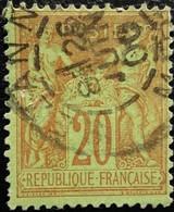 France N°96 Sage 20c. Brique Sur Vert . Oblitéré. - 1876-1898 Sage (Type II)