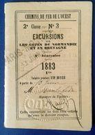 CHEMINS DE FER DE L OUEST - Excursions Sur Les Côtes De Normandie Et En Bretagne - 1883 - Chemins De Fer