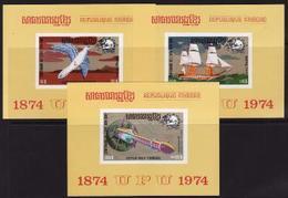 Khmer Republic, 1974, 100 Years UPU, Transportation, 3 S/s Block - Space