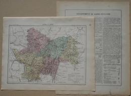 Dpt- 71- Joanne 1870 - 30x38 SAONE & LOIRE Macon Autun Chalon Charolles Louhans Verdun Gueugnon Cluny Paray Givry Chagny - Cartes
