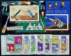 Yemen AR, Man In Space, 1969, 7 Stamps + 2 Blocks Perforated Imperforated - Ruimtevaart