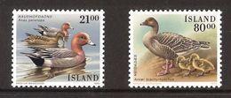 Iceland Island 1990 Birds, Eurasian Wigeon, Pink-footed Goose  Mi 722-723 MNH(**) - Neufs