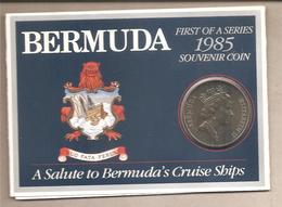 Bermuda - Moneta FdS Da 1 Dollaro In Folder Della Bermuda's Cruise Ships - 1985 - Bermudes