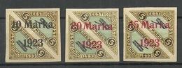 FAUX Estonia Estonie 1923 Michel 43 - 45 B Old Forgeries Fake Alte Fälschungen MH/MNH - Estonie