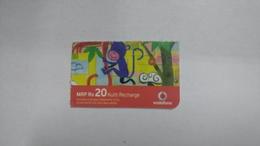 India-vodafone-mrp Card-(24e)-(rs.20)-(7/08-7/09-(jaipur)-kutti Card-used+1 Card Prepiad Free - India