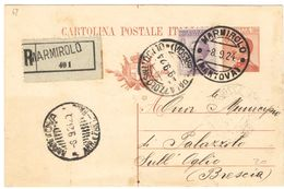 R634) V.E.III CARTOLINA POSTALE 30 C. MICHETTI 1923 RACCOMANDATA - Interi Postali