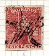 AMERIQUE CENTRALE - BARBADE - (Colonie Britannique) - 1859 - N° 6 - 6 P. Rouge - (Britannia) - Antilles