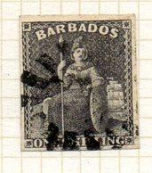 AMERIQUE CENTRALE - BARBADE - (Colonie Britannique) - 1859 - N° 7 - 1 S. Noir - (Britannia) - Antilles