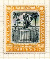 AMERIQUE CENTRALE - BARBADE - (Colonie Britannique) - 1905 - N° 79 - 2 P. Jaune - (Centenaire De La Mort De Nelson) - Antilles
