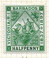 AMERIQUE CENTRALE - BARBADE - (Colonie Britannique) - 1897 - N° 61B - 1/2 P. Vert - (Sceau De La Colonie) - Antilles