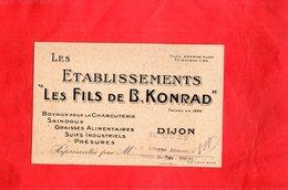 "Carte De Visite - Les Ets ""Les Fils De B. KONRAD"" DIJON - Cartes De Visite"