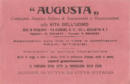 """07599 """"CARTA ASSORBENTE AUGUSTA ASSICURAZIONI TORINO"""" ORIG. - Formato Piccolo : 1941-60"""