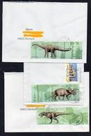BRD 2008  MiNr. 2687, 2688, 2689  Dinosaurier Auf 3 Briefen/ Letters - Stamps