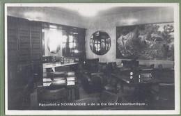 CPA Type CARTE PHOTO - Vue Rare - PAQUEBOT NORMANDIE DE LA COMPAGNIE TRANSTLANTIQUE - LA BIBLIOTHEQUE - Delanque édition - Passagiersschepen