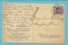 195 Op Kaart Stempel MONS, Met Naamstempel (Griffe D'origine) ST-GHISLAIN - 1922-1927 Houyoux