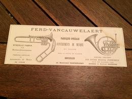 ANNEE 1880 Fabrique D' Instruments De Musique En Cuivre FERD VAN CAUWELAERT à BRUXELLES Plaque émaillée Chromo HABERER - Advertising