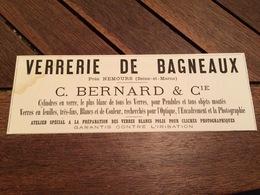 1880 Manufacture De Porcelaine DOMMARTIN VITRY BOURDON ROBERT à LIMOGES Verrerie De Bagneaux Sur Loing Près De NEMOURS - Publicités