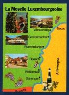 La Moselle Luxembourgeoise. Carte Géographique Multi-vues  De Wasserbillig à Schengen. Région Viticole - Cartes Postales