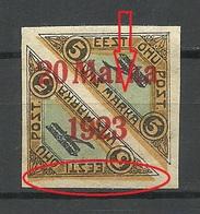 Estonia Estland 1923 Michel 44 B B (brick Red OPT) ERROR Variety* New Gum Signed Rucins - Estonie