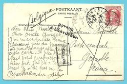74 Op Kaart Met Stempel MERCHTEM Naar GRENOBLE (France) Stempel NON RECLAME + RETOUR.... - 1905 Grosse Barbe
