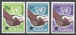 Ghana 1958. Scott #36-8 (M) United Nations Day ** Complet Set - Ghana (1957-...)