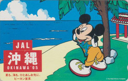 Télécarte NEUVE Japon / 110-011 - DISNEY JAL - MICKEY & Plage D'Okinawa - Japan AIRLINES MINT Phonecard - Disney
