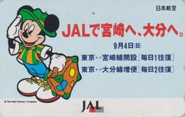 Télécarte Japon / 110-159451 - DISNEY JAL - MICKEY MOUSE JAPAN AIRLINES Phonecard / Aviation Avion - Disney