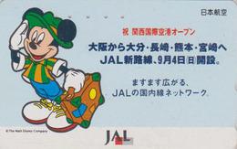 Télécarte Japon / 110-159454 - DISNEY JAL - MICKEY MOUSE JAPAN AIRLINES Phonecard / Aviation Avion - Disney
